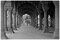 Diwan-i-Am (Hall of public audiences), Red Fort. New Delhi, India (black and white)