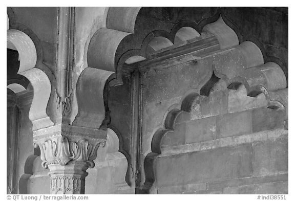 Detail of arche in Diwan-i-Am, Red Fort. New Delhi, India (black and white)