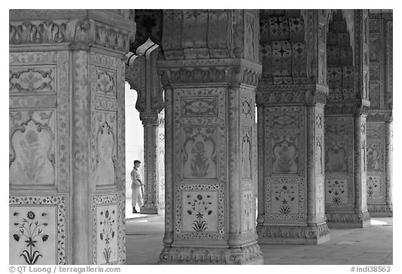Row Columns and guard, Royal Baths, Red Fort. New Delhi, India (black and white)