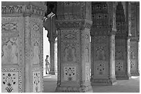 Row Columns and guard, Royal Baths, Red Fort. New Delhi, India ( black and white)