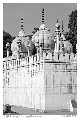 Moti Masjid (Pearl Mosque), enclosed between walls aligned with the rest of the Red Fort. New Delhi, India (black and white)