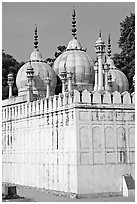 Moti Masjid (Pearl Mosque), enclosed between walls aligned with the rest of the Red Fort. New Delhi, India ( black and white)