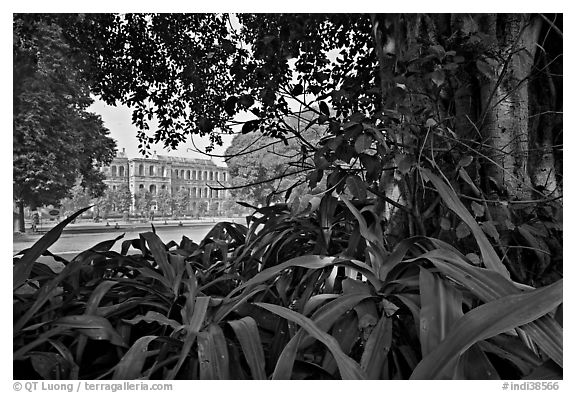 Gardens and colonial-area barracks, Red Fort. New Delhi, India (black and white)