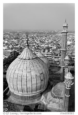 Dome of Jama Masjid mosque and Old Delhi rooftops. New Delhi, India (black and white)