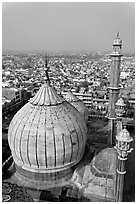 Dome of Jama Masjid mosque and Old Delhi rooftops. New Delhi, India ( black and white)