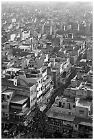 View of a Old Delhi street from above. New Delhi, India ( black and white)