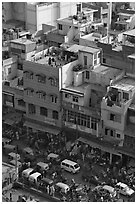 Street traffic and buildings from above, Old Delhi. New Delhi, India ( black and white)