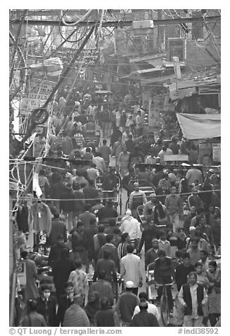 Crowds in Old Delhi street from above. New Delhi, India (black and white)