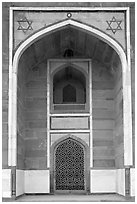 Side alcove, Humayun's tomb. New Delhi, India (black and white)
