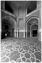 Geometrical patters on the floor of hall, Humayun's tomb. New Delhi, India (black and white)