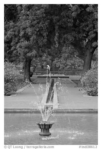 Basin and Mughal-style watercourses, Humayun's tomb. New Delhi, India (black and white)