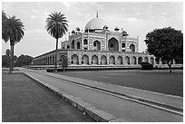 Mughal gardens and main mausoleum, Humayun's tomb. New Delhi, India (black and white)