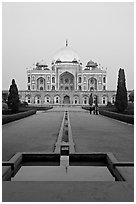 Humayun's tomb and watercourses at dusk. New Delhi, India (black and white)