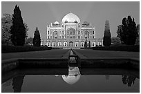 Humayun's tomb at night. New Delhi, India (black and white)