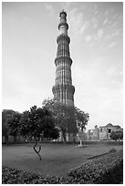 Qutb Minar garden and tower. New Delhi, India (black and white)