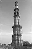 73-meter high tower of victory, Qutb Minar. New Delhi, India ( black and white)