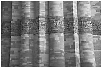 Detail of flutted sandstone, Qutb Minar. New Delhi, India ( black and white)