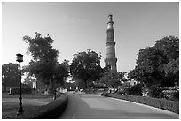 Gardens, and Qutb Minar tower. New Delhi, India (black and white)