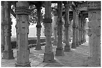 Colonade, Qutb complex. New Delhi, India (black and white)