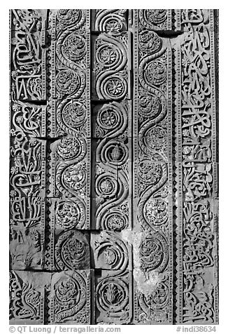 Floral motifs and geometical patterns, Quwwat-ul-Islam mosque, Qutb complex. New Delhi, India (black and white)
