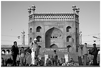 Early morning activity under Jama Masjid East Gate. New Delhi, India ( black and white)
