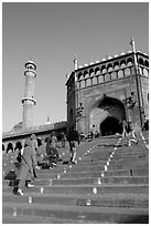 Stairs leading to Jama Masjid South Gate, and minaret. New Delhi, India ( black and white)