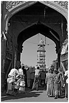 Gate leading to clock tower and Sardar Market. Jodhpur, Rajasthan, India ( black and white)