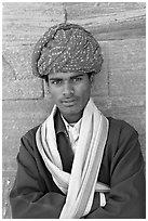 Young man wearing a red turban. Jodhpur, Rajasthan, India ( black and white)
