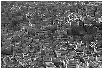 View over a sea of blue houses from Mehrangarh Fort. Jodhpur, Rajasthan, India ( black and white)