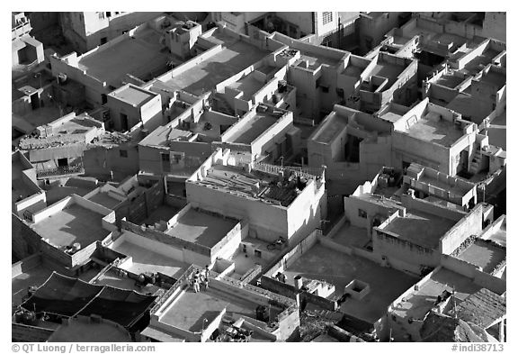 Cubist geometry of rooftops seen from above. Jodhpur, Rajasthan, India (black and white)