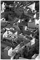 Terraces on top of blue houses seen from above. Jodhpur, Rajasthan, India ( black and white)