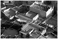 Rooftop terraces seen from above. Jodhpur, Rajasthan, India ( black and white)