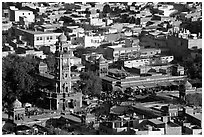 Sardar Market and bell tower seen from above. Jodhpur, Rajasthan, India ( black and white)