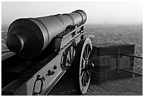 Cannon and old town, Mehrangarh Fort. Jodhpur, Rajasthan, India (black and white)