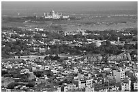 Old town, with Umaid Bhawan Palace in the distance, Mehrangarh Fort. Jodhpur, Rajasthan, India ( black and white)