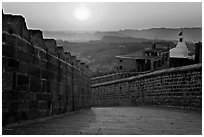 Mehrangarh Fort walls and Chamunda Devi temple. Jodhpur, Rajasthan, India (black and white)