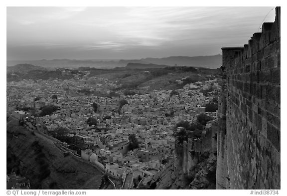 Mehrangarh Fort walls, and old city  blue houses, sunset. Jodhpur, Rajasthan, India (black and white)