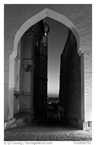Gate and walls at dusk, Mehrangarh Fort. Jodhpur, Rajasthan, India (black and white)