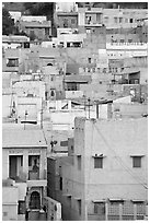 Old town houses with various shades of indigo. Jodhpur, Rajasthan, India ( black and white)