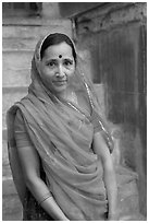 Woman in red sari. Jodhpur, Rajasthan, India (black and white)