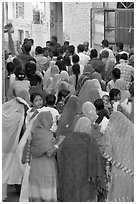 Narrow street filled by wedding procession. Jodhpur, Rajasthan, India ( black and white)