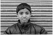 Boy with insulated jacket. Jodhpur, Rajasthan, India ( black and white)