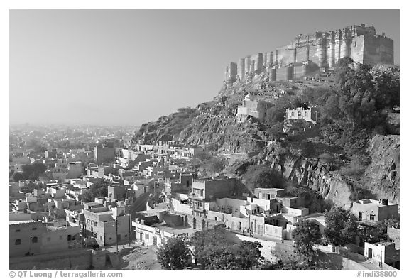 Mehrangarh Fort overlooking the old town, morning. Jodhpur, Rajasthan, India (black and white)
