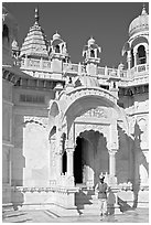 Man with turban standing in front of the entrance of Jaswant Thada. Jodhpur, Rajasthan, India ( black and white)