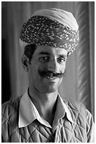 Man with turban, inside Jaswant Thada. Jodhpur, Rajasthan, India ( black and white)