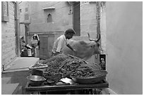 Man pushes away a cown in a narrow street. Jodhpur, Rajasthan, India (black and white)