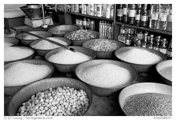 Grains and other groceries, Sardar market. Jodhpur, Rajasthan, India (black and white)