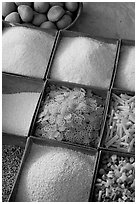 Grains and other foods,  Sardar market. Jodhpur, Rajasthan, India ( black and white)