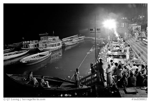 Evening aarti on the banks of the Ganges River. Varanasi, Uttar Pradesh, India (black and white)
