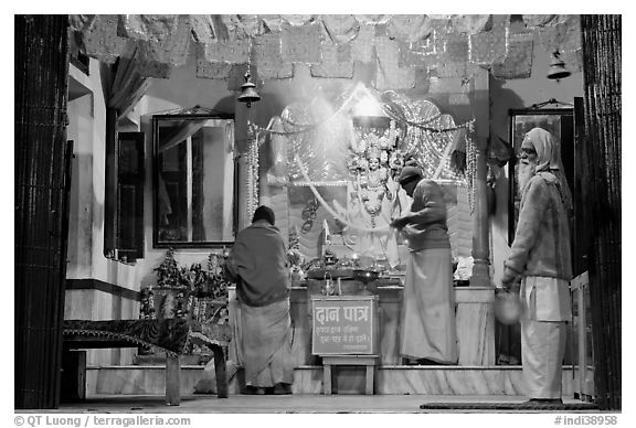 Temple altar by night. Varanasi, Uttar Pradesh, India (black and white)
